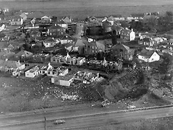 File photo dated 22/12/1988 of an aerial view of the crater in the Lockerbie where a PanAm Boeing 747 crashed into the town after a bomb was detonated on board.