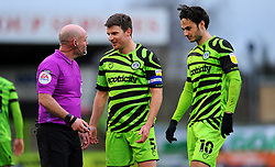 Chris Stokes of Forest Green Rovers has words with referee Kevin Johnson- Mandatory by-line: Nizaam Jones/JMP - 16/01/2021 - FOOTBALL - innocent New Lawn Stadium - Nailsworth, England - Forest Green Rovers v Port Vale - Sky Bet League Two