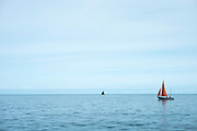 Yachts - pleasure boats with red sail sailing on still waters of calm ocean in the morning at Aberaeron, Pembrokeshire, Wales, UK