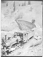"""RGS 2-8-0 #6 at south end of Upper Gallagher trestle with short caboose stranded on the trestle """"after losing coupling.""""<br /> RGS  Gallagher, CO  Taken by Virden, Walter - 1906<br /> In book """"Southern, The: A Narrow Gauge Odyssey"""" page 150<br /> See RD155-055 and RD155-080 for enlargements."""