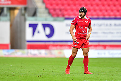 Leigh Halfpenny of Scarlets<br /> <br /> Photographer Craig Thomas/Replay Images<br /> <br /> Guinness PRO14 Round 3 - Scarlets v Benetton Treviso - Saturday 15th September 2018 - Parc Y Scarlets - Llanelli<br /> <br /> World Copyright © Replay Images . All rights reserved. info@replayimages.co.uk - http://replayimages.co.uk