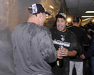 CHICAGO - SEPTEMBER 30:  Carlos Quentin (R) and Joe Crede (L) of the Chicago White Sox celebrate in the clubhouse after the game against the Minnesota Twins at U.S. Cellular Field in Chicago, Illinois on September 30, 2008.  The White Sox defeated the Twins 1-0 to win the American League Central title.  The Sox and Twins had to play a one game playoff to determine the American League Central Champion.  (Photo by Ron Vesely)