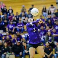 Miyamura Patriot Ashley Hildreth (3) volleys to the Gallup Bengals at Gallup High School Tuesday.
