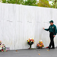 """Barry Smith, an Ambassador for the Flight 93 National Memorial walks along the""""Wall of Names"""" before the start of the ceremony honoring the 13th Anniversary of the crash of Flight 93 and the terrorist attacks on America on September 11, 2014.  UPI/Archie Carpenter"""