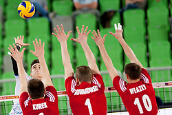 Klemen Cebulj #18 of Slovenia during volleyball match between National teams of Slovenia and Poland in 4th Qualification game of CEV European Championship 2015 on May 23, 2014 in Arena Stozice, Ljubljana, Slovenia. Photo by Urban Urbanc / Sportida