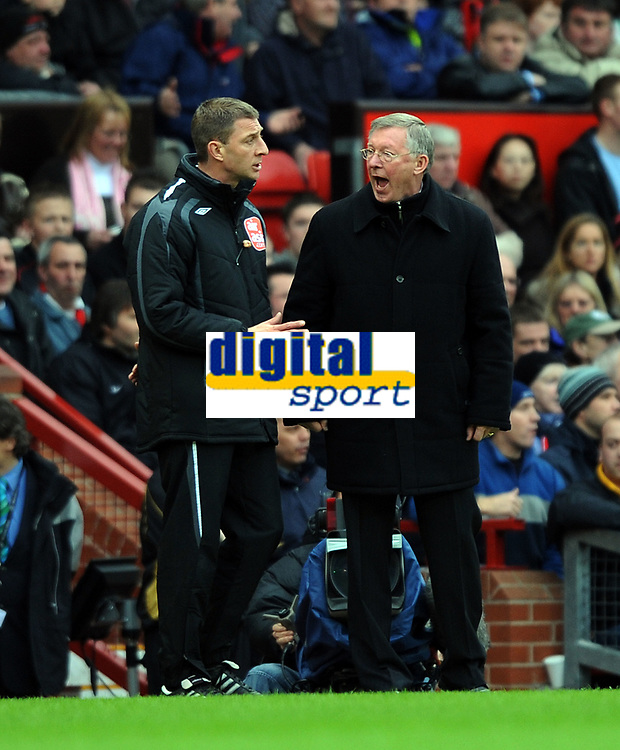 Alex Ferguson Manager argues with linesman and 4th Official about Penalty<br /> Manchester United 2007/08<br /> Manchester United V Portsmouth 08/03/08<br /> The FA Cup 6th Round<br /> Photo Robin Parker Fotosports International
