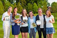 17-05-2015 NGF Competitie 2015, Hoofdklasse Heren - Dames Standaard - Finale, Golfsocieteit De Lage Vuursche, Den Dolder, Nederland. 17 mei. Dames Eindhovensche: Team tijdens de prijsuitreiking.