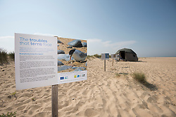 Interpretation signage, Little tern Sternula albifrons monitoring site, part of an EU Life Project to protect this species, Winterton-on-Sea, Norfolk, July
