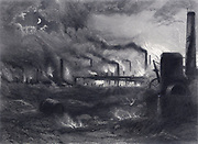 Black Country near Bilston, Staffordshire, England, at night, showing glowing furnaces and chimneys belching smoke.  Engraving from 'Staffordshire and Warwickshire Past and Present' by John Alfred Langford (1872).  The pollution caused by the heavy industry in this area of the English Midlands gave it its name of Black Country.