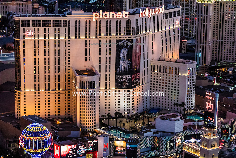 Aerial view of Planet Hollywood Hotel the Strip, Las Vegas, Nevada, USA
