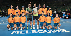 MELBOURNE, Jan. 27, 2018  Austria's Oliver Marach (L) and Croatia's Mate Pavic(R) pose with trophy after winning the men's doubles final against Colombia's Juan Sebastian Cabal and Robert Farah at the Australian Open in Melbourne, Australia, Jan. 27, 2018. (Credit Image: © Zhu Hongye/Xinhua via ZUMA Wire)