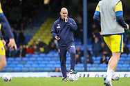 AFC Wimbledon coach Mark Robinson taking training and with whistle to mouth during the EFL Sky Bet League 1 match between Southend United and AFC Wimbledon at Roots Hall, Southend, England on 12 October 2019.