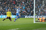 Brighton & Hove Albion centre forward Tomer Hemed (10) scores a goal 1-0 and celebrates during the EFL Sky Bet Championship match between Brighton and Hove Albion and Burton Albion at the American Express Community Stadium, Brighton and Hove, England on 11 February 2017.