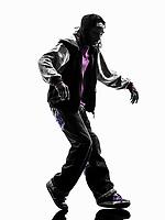 one hip hop acrobatic break dancer breakdancing young man moonwalking silhouette white background