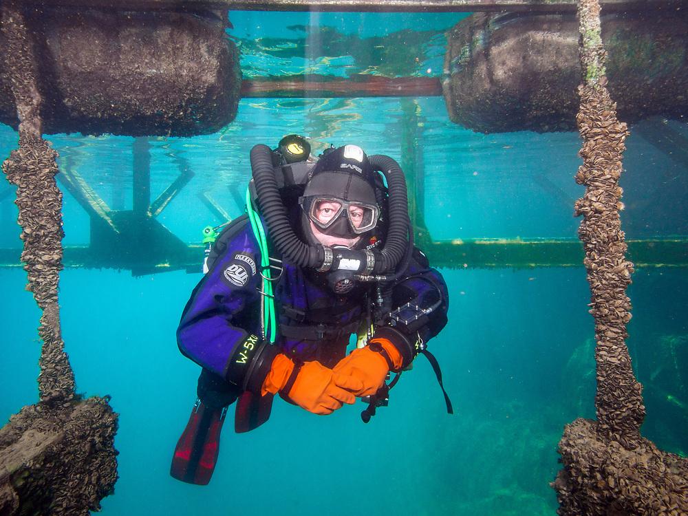 KISS Spirit rebreather diver under the platform in Dutch Springs, Pennsylvania