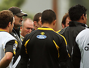 Hurricanes coach Colin Cooper talks to the team under the watchful eye of All Blacks coach Graham Henry.<br /> Super 14 - Hurricanes training session, at Rugby League Park, Newtown, Wellington. Tuesday, 28 April 2009. Photo: Dave Lintott/PHOTOSPORT