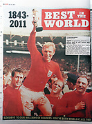 The 'News of the World' Newspaper 10th July 2011. The commemorative final edition of the newspaper carries a re-print of the 1966 Issue depicting England football captain Bobby Moore after winning the World Cup Trophy.