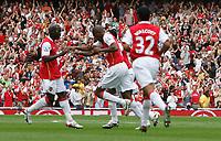Photo: Steve Bond.<br />Arsenal v Derby County. The FA Barclays Premiership. 22/09/2007. Abou Diaby celebrates