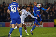 AFC Wimbledon defender Terell Thomas (6) battles for possession with Peterborough United attacker Ivan Toney (17) during the EFL Sky Bet League 1 match between AFC Wimbledon and Peterborough United at the Cherry Red Records Stadium, Kingston, England on 12 March 2019.