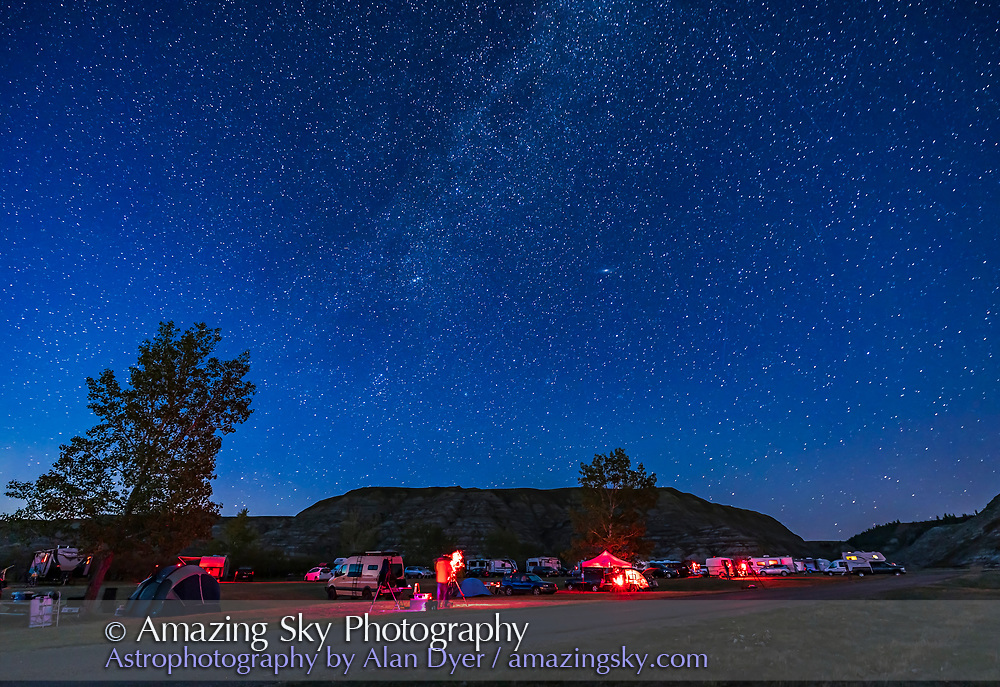 A view of the Alberta Star Party grounds in the darkening twilight, September 3, 2021, in the Starland County Recreation Area on the Red Deer River.