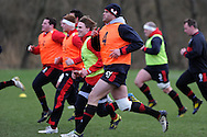 Jamie Roberts of Wales in action. Wales rugby team training at the Vale, Hensol near Cardiff, South Wales on Tuesday 12th March 2013.  the team are training ahead of the final RBS Six nations match against England this weekend. pic by  Andrew Orchard, Andrew Orchard sports photography,