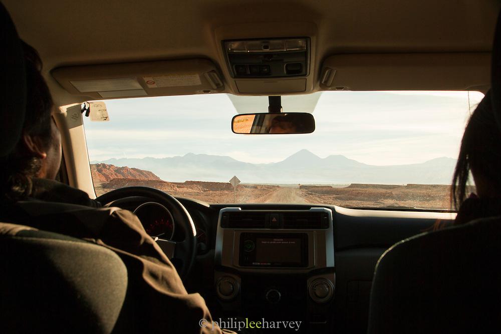 Driving through the Valley of the Moon, Atacama Desert. Chile, South America
