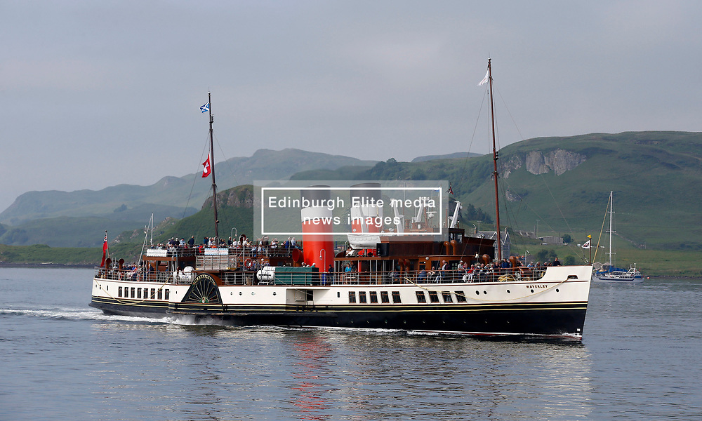 The world's last seagoing passenger paddle steamer the PS Waverley departing Oban for a day trip to Iona and Staffa via the Sound of Mull....... (c) Stephen Lawson   Edinburgh Elite media