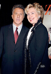 Cast member Dustin Hoffman and Senator Hillary Rodham Clinton (D - NY) pose as they arrive at the ïFinding Neverland' premiere, held at the Brooklyn Museum in New York, on Monday, October 25, 2004. Photo by Nicolas Khayat/ABACA.
