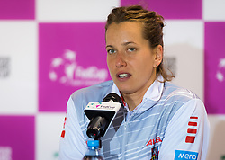November 10, 2018 - Prague, Czech Republic - Barbora Strycova of the Czech Republic talks to the media at the 2018 Fed Cup Final between the Czech Republic and the United States of America (Credit Image: © AFP7 via ZUMA Wire)