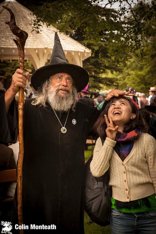 Wizard casts a spell, Victorian tea party, Explorers and adventurers Victorian festival , Heritage quarter, Oamaru, Otago