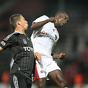 Gaziantepspor's Dany NOUNKEU (R) during their Turkish superleague soccer match Gaziantepspor between Besiktas at the Kamil Ocak stadium in Gaziantep Turkey on Monday 03 October 2011. Photo by TURKPIX