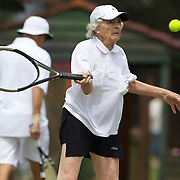 Elaine Stephan, New Zealand, in action against Joyce Cutts, Canada in the Bronze Medal play off match in the Queens Cup Competition during the 2009 ITF Super-Seniors World Team and Individual Championships at Perth, Western Australia, between 2-15th November, 2009.