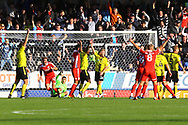 Scunthorpe United forward Andy Dales (12) scores a goal but is ruled offside during the EFL Sky Bet League 1 match between Burton Albion and Scunthorpe United at the Pirelli Stadium, Burton upon Trent, England on 29 September 2018.