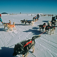 With fanfare from the staff at America's Amundsen-Scott science base, the 1989-1990 Trans-Antarctica Expedition departs from the South Pole.