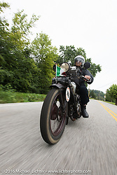 Giuseppe Savoretti riding his 1931 Moto Guzzi during Stage 4 of the Motorcycle Cannonball Cross-Country Endurance Run, which on this day ran from Chatanooga to Clarksville, TN., USA. Monday, September 8, 2014.  Photography ©2014 Michael Lichter.