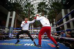 Josh Kelly (left) during the public work-out at the Brookfield Place, New York.