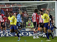 Fotball<br /> Foto: BPI/Digitalsport<br /> NORWAY ONLY<br /> <br /> 27/10/2004<br /> Southampton v Colchester United<br /> Carling Cup 3rd Round, St Mary's Stadium<br /> <br /> Neil Danns, left, celebrates after making it 1-0