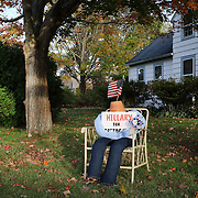 MADISON, CONNECTICUT- OCTOBER 26:  A Hilary Clinton supporters dummy in the garden of a home in the coastal town of Madison, Connecticut on October 26, 2016 (Photo by Tim Clayton/Corbis via Getty Images)