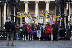 © licensed to London News Pictures. London, UK 29/10/2012.  Cleaners, maintenance staff at The British Museum who are the members of the Public and Commercial Services union take part in strike action outside the British Museum, London on 29/10/12. Photo credit: Tolga Akmen/LNP