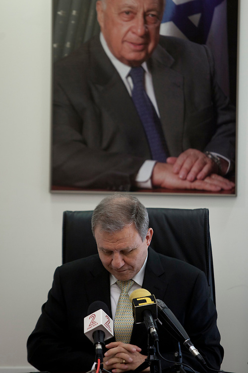 Israeli lawmaker, Knesset Member Meir Sheetrit is seen during a press conference at the Knesset, Israel's parliament in Jerusalem, on February 27, 2012. Sheetrit announced that he would be supporting Mofaz in primary elections for leadership of the Kadima party, scheduled to take place on March 27.