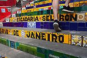 Selaron Stairs tiling, Lapa, central city, Rio de Janeiro.