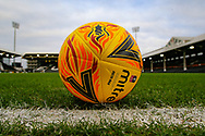 General stadium view inside Craven Cottage showing a yellow FA Cup match ball before The FA Cup 3rd round match between Fulham and Oldham Athletic at Craven Cottage, London, England on 6 January 2019.
