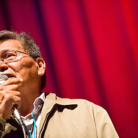 122212       Cable Hoover<br /> <br /> Navajo Nation president Ben Shelly welcomes theater goers to the Turquoise Classic Cowboy Christmas concert at El Morro Theatre in Gallup Saturday.