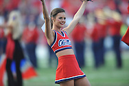 A Mississippi Rebels cheerleader at Vaught-Hemingway Stadium at Ole Miss in Oxford, Miss. on Saturday, September 26, 2015. (AP Photo/Oxford Eagle, Bruce Newman)