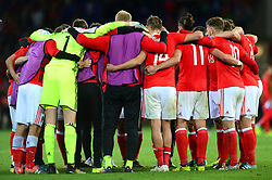 Wales team huddle - Mandatory by-line: Dougie Allward/JMP - 02/09/2017 - FOOTBALL - Cardiff City Stadium - Cardiff, Wales - Wales v Austria - FIFA World Cup Qualifier 2018