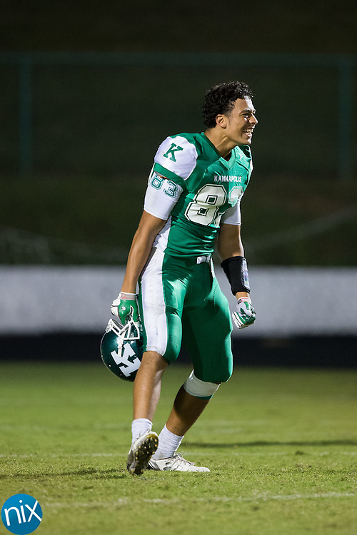 Jalen Nixon (83) of the A.L. Brown Wonders is all smiles following the win over the Vance Cougars at A.L. Brown High School on September 30, 2016 in Kannapolis, North Carolina.  The Wonders defeated the Cougars 24-21.  (Brian Westerholt/Special to the Tribune)