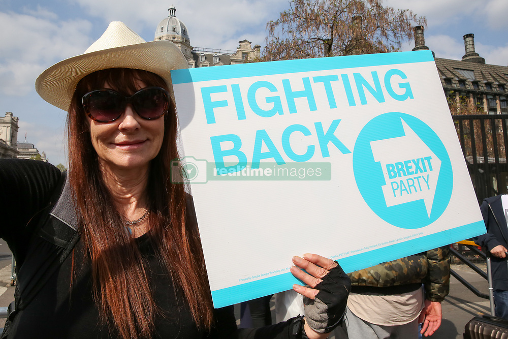 April 30, 2019 - London, UK, United Kingdom - A campaigner from the Brexit Party seen with a placard protesting outside the Houses of Parliament..Ongoing protest about UK leaving the EU. (Credit Image: © Dinendra Haria/SOPA Images via ZUMA Wire)