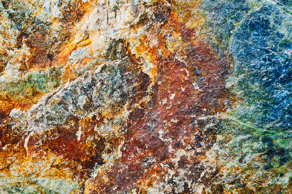 Colorful minerals in rock, Sand Dollar Beach, Los Padres National Forest, Big Sur, California
