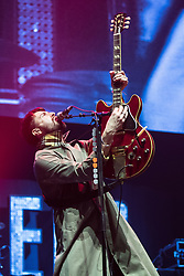 © Licensed to London News Pictures . 09/09/2017. Manchester , UK . LIAM FRAY of Courteeners performs . We Are Manchester reopening charity concert at the Manchester Arena with performances by Manchester artists including  Noel Gallagher , Courteeners , Blossoms and the poet Tony Walsh . The Arena has been closed since 22nd May 2017 , after Salman Abedi's terrorist attack at an Ariana Grande concert killed 22 and injured 250 . Money raised will go towards the victims of the bombing . Photo credit: Joel Goodman/LNP