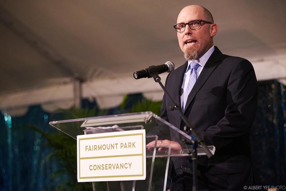 Tim Clair, FPC Interim Executive Director<br /> at the Fairmount Park Horticulture Center<br /> April 29, 2016